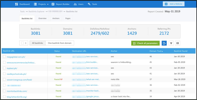 Backlink listing of SE Ranking