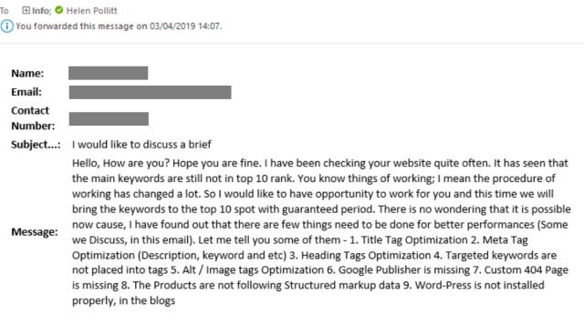 Screenshot of email received listing questionable SEO issues with the Avenue Digital website