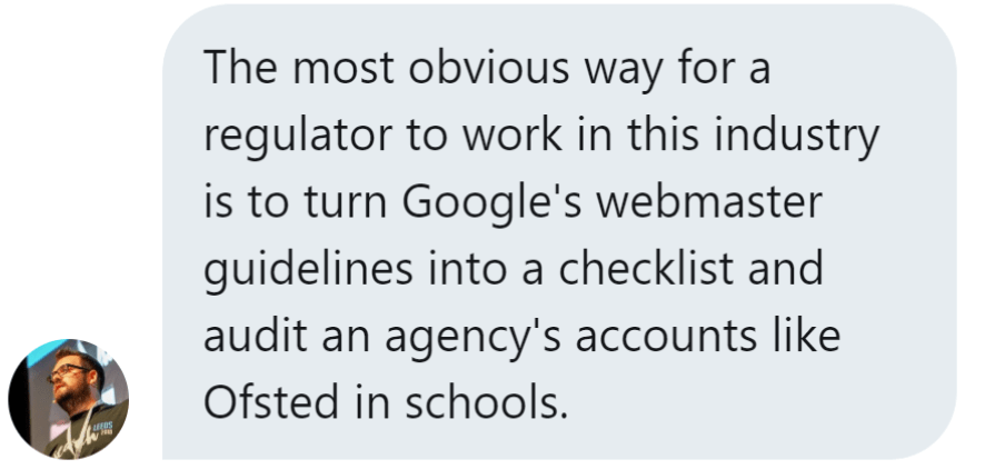 Twitter message from Stephen Kenwright suggesting regulation through a Google-inspired checklist
