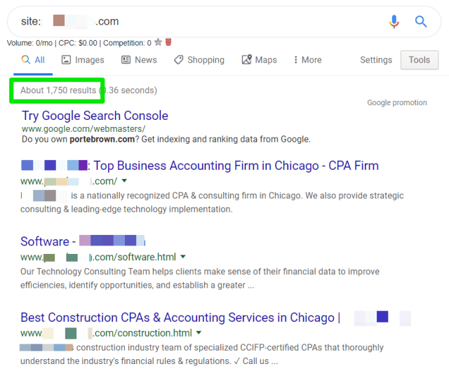 screenshot example of using Google search results to spot inefficient indexation