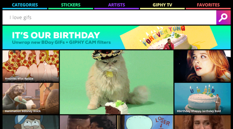 GIPHY homepage