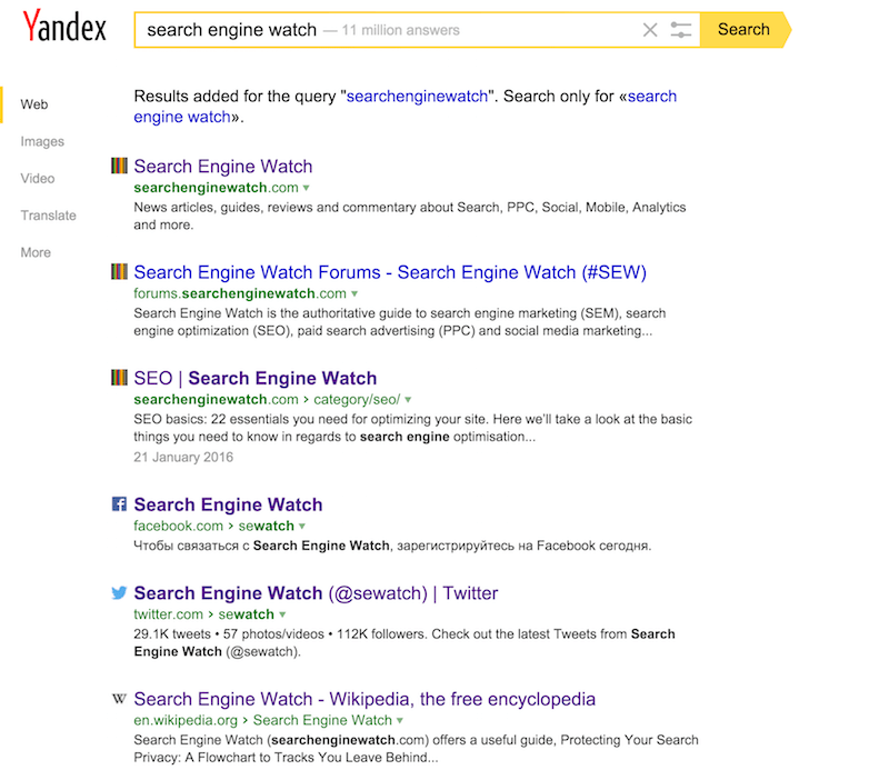 search engine watch on Yandex
