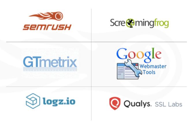 A graphic containing logos from six different SEO tools: semrush, Screaming Frog SEO, GTmetrix, Google Webmaster Tools, logz.io, and Qualys.