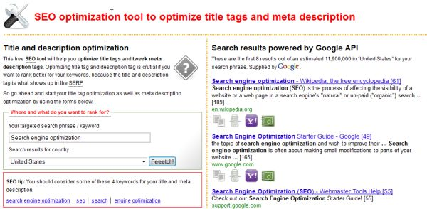 Title and description optimization tool