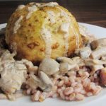 Zombie Brain Whole roasted celeriac with pearl barley and curried mushrooms