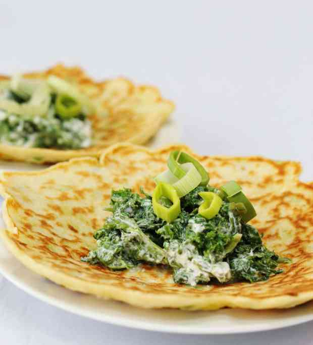 Leek pancakes with spinach, kale and ricotta