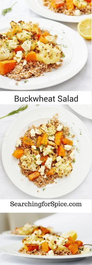 Vegetarian buckwheat salad with spiced roasted butternut squash and cauliflower