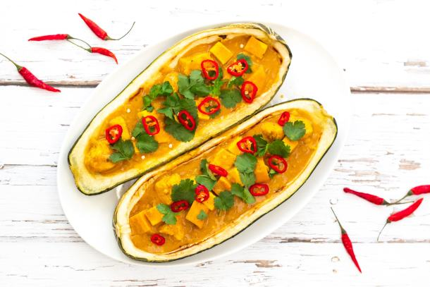 stuffed baked marrow filled with curry