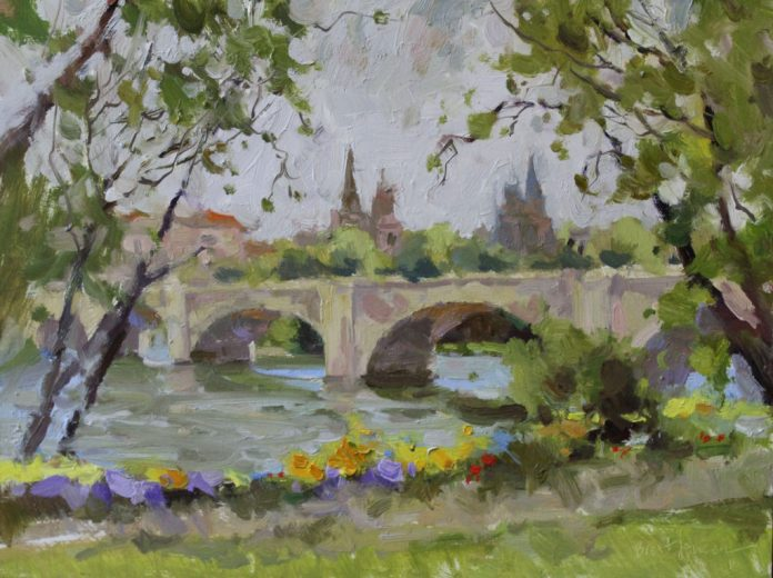 In Spain, this oil painting depicting the view across the bridge toward several churches brings God, man and nature together.