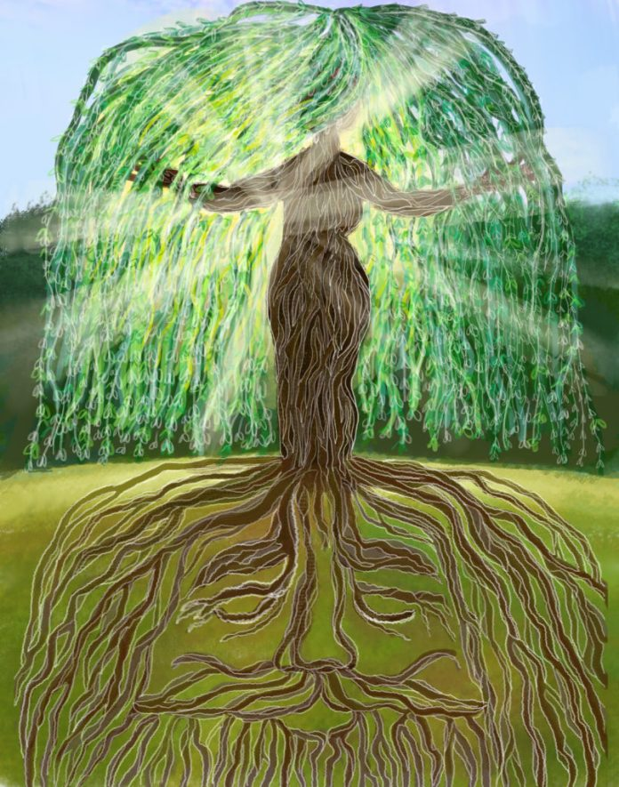 The Symbolic God Tree. 2 Eden trees ~ Mother Eloh (Tree of Knowledge), representing journey from Heaven>Earth.)+ Father El (Tree of Life) representing journey from Earth > Heaven. Plan of Salvation). Together, AS ONE, they are Elohim=GOD.