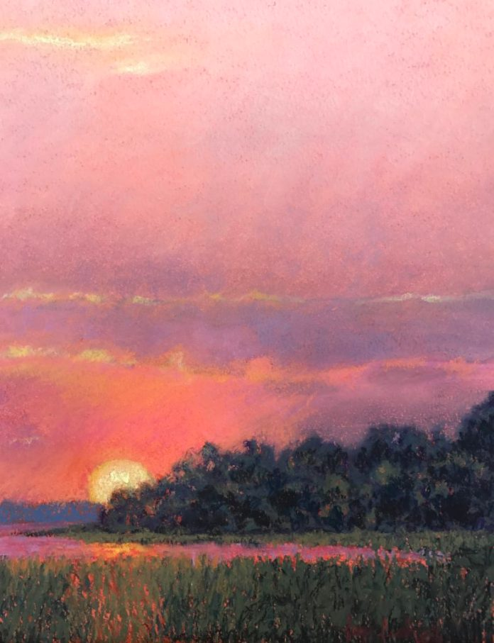 """Sunset Over the Marshes"" Pastel 9""x13"""