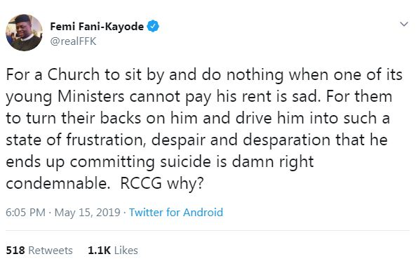 Femi Fani-kayode Reacts To Death Of RCCG Minister