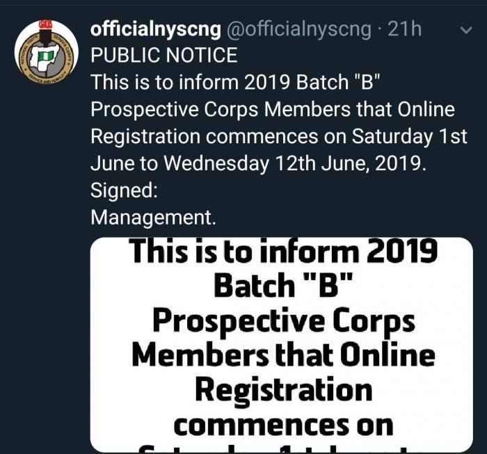 NYSC Batch B Registration 2019 Postponed (See New Date) 1