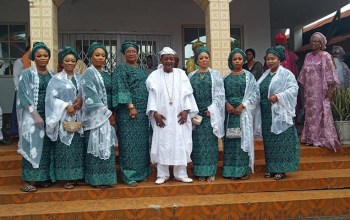 Alaafin of Oyo Pictured With His Wives