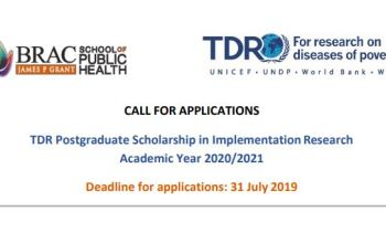 Apply For Fully-funded TDR Postgraduate Scholarship in Implementation Research 2020/2021