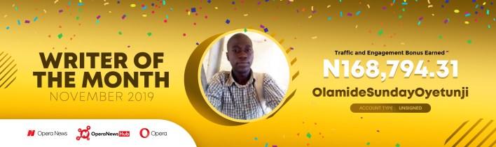 Opera Winner for the month of November 2018