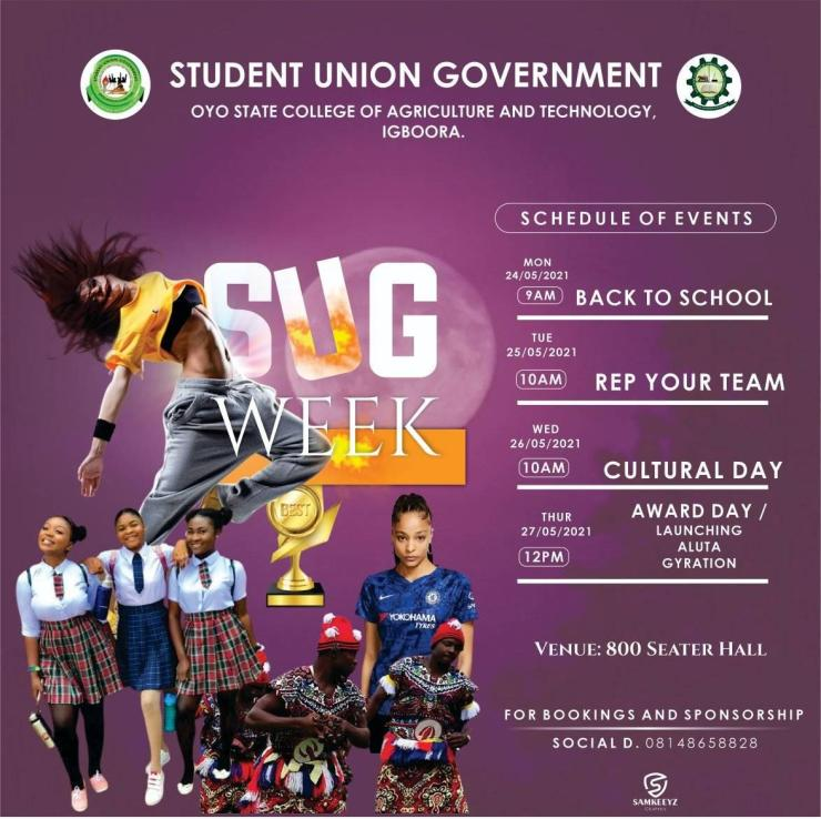 Oyo State College of Agriculture and Technology (OYSCATECH) SUG Week Schedule of Events 2021 2