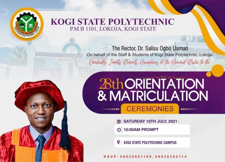 Kogi State Polytechnic (KSP) 28th Orientation & Matriculation Ceremonies Schedule for 2020/2021 New Intake 2
