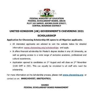 United Kingdom UK Scholarship at Chevening for Nigerians 2021 1