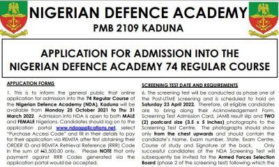 NDA Application Form 2022/2023 – 74th Regular Course Admission
