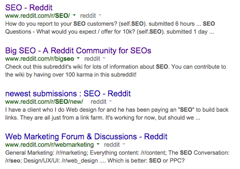 reddit search for SEO