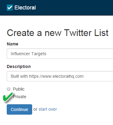 set your list as private in electoral