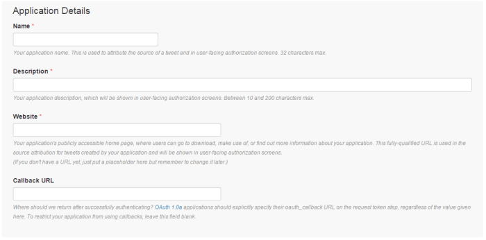 twitter api form - how to fill it out