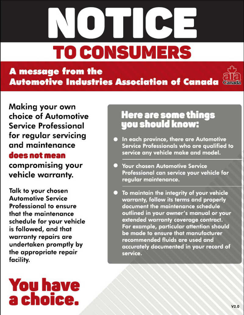 Aftermarket warranty and service - AIA notice
