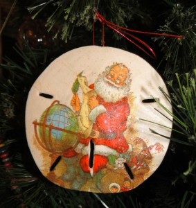 sand dollar christmas ornament with Santa