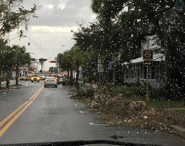 debris lining the road