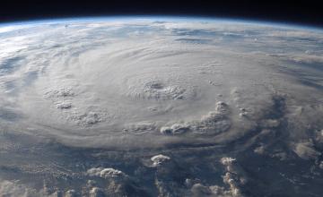 swirling hurricane clouds