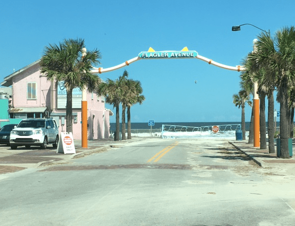 Flagler Ave entrance to New Smyrna Beach, closed because of high tide