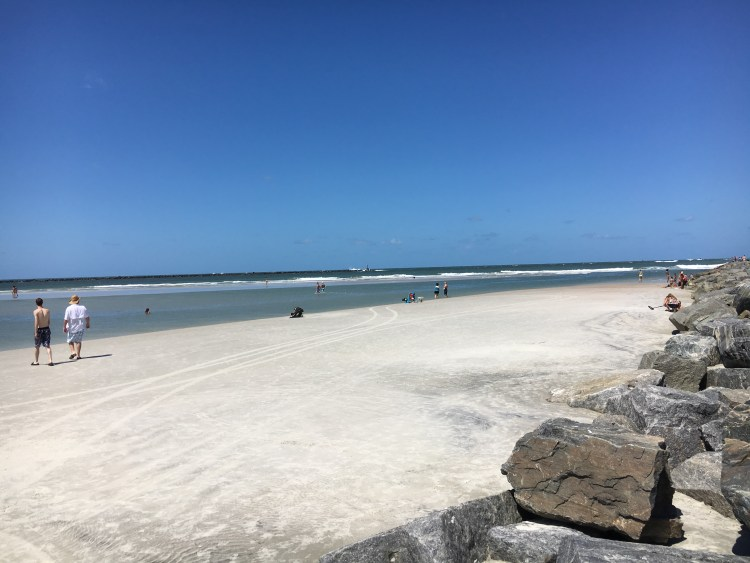 Beach at the Ponce Inlet near the jetty at New Smyrna Beach in Florida