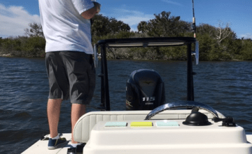 Fishing from the back of the boat