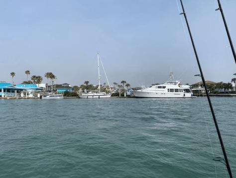 Yacht anchored near the restaurant
