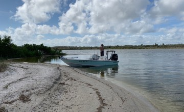 Behind a small island in Mosquito Lagoon