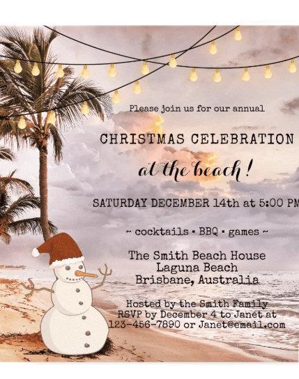 snowman  beach Christmas party