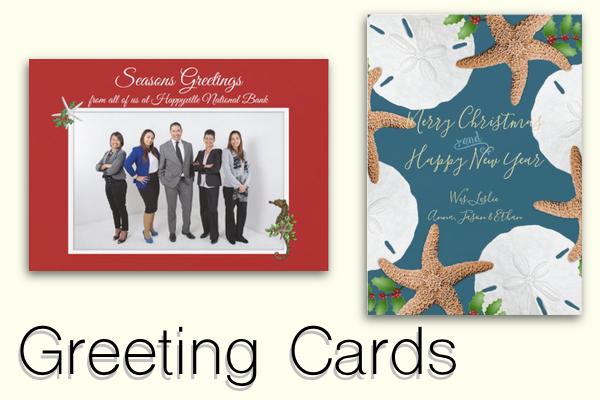 Custom beach Christmas greeting cards postcards business family tropical theme warm climate