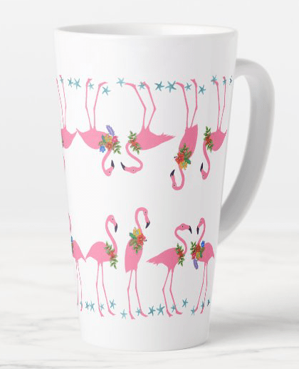 Pink flamingos latte mug mirror design white tall coffee beach theme tropical fun design