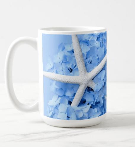 Starfish mug blue hydrangeas photo bold beach design floral sea star wrap