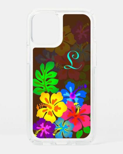 Monogram hibiscus iPhone case tropical flowers Hawaiian floral single initial