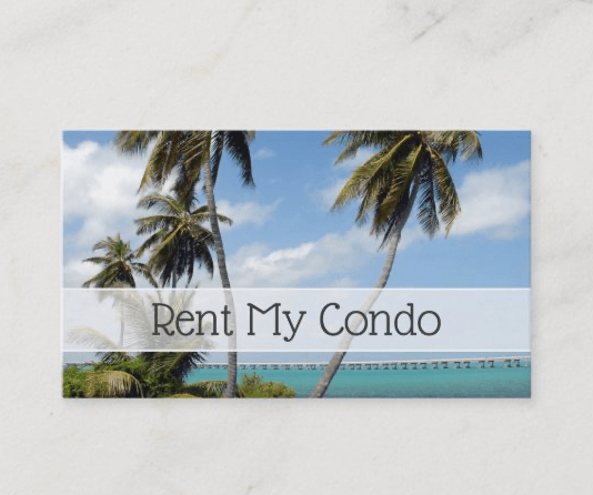 Rent my condo palm trees business cards