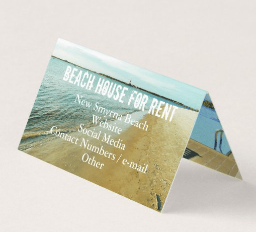 Folded business cards with sea shore image