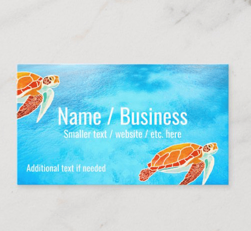 Sea turtle art and blue water business cards