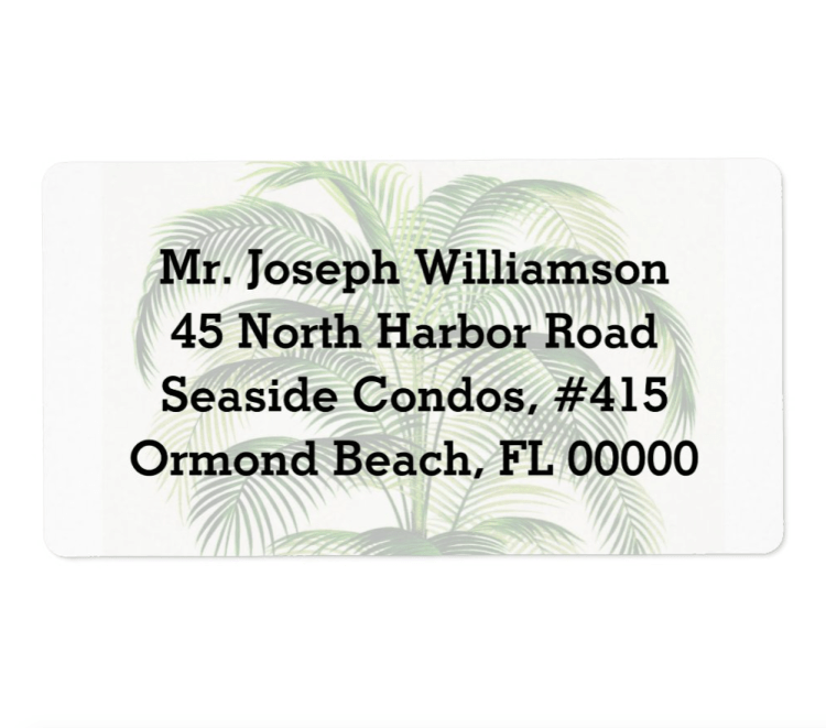 Palm tree return address labels with three or four lines