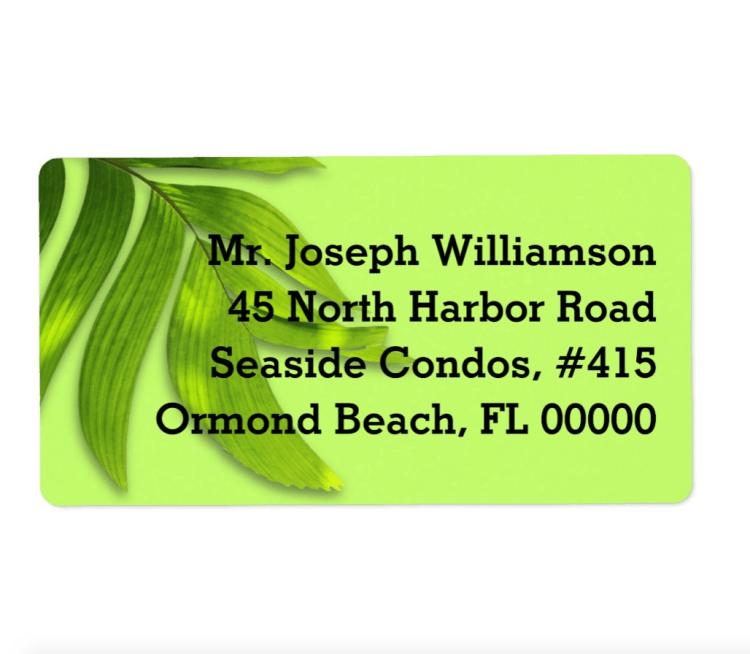 Wide green leaves return address labels
