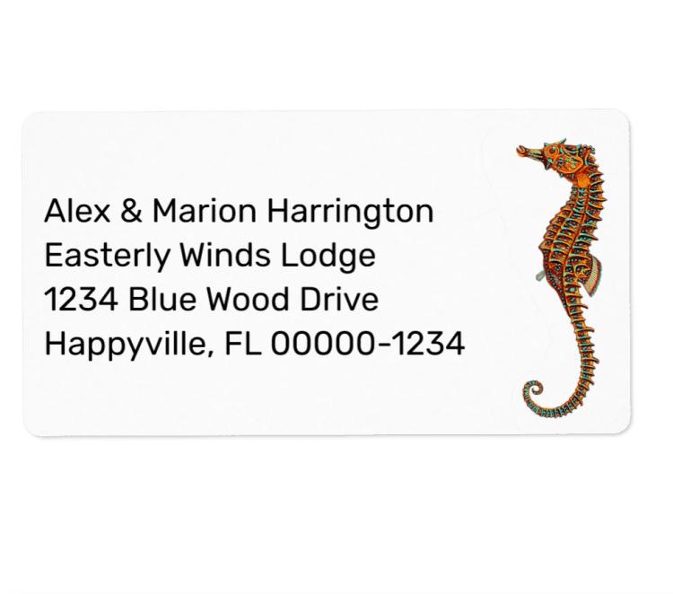 Sea horse return address labels