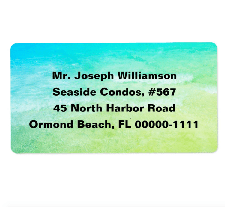 Blue and green tropical address labels