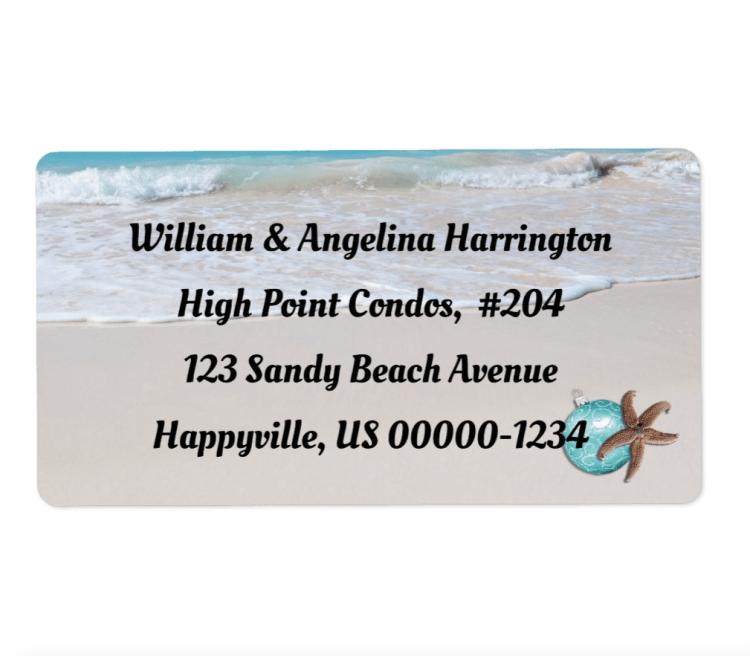 Tropical Christmas beach scene address labels