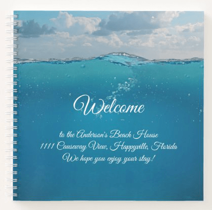 Spiral bound welcome binder for guests or renters blue water welcome
